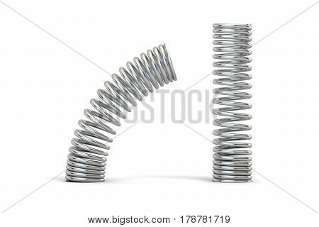 Steel helical coil springs 3D rendering isolated on white background