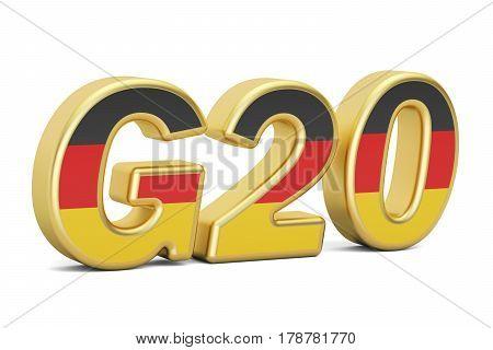 Summit G20 concept. German G20 meeting 3D rendering