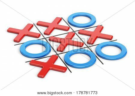 Tick-tac-toe noughts and crosses game. 3D rendering