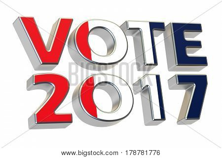 Vote 2017 in France. French presidential election concept 3D rendering isolated on white background