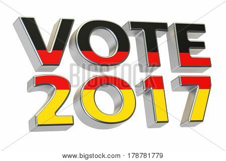 Vote 2017 in Germany. German election concept 3D rendering isolated on white background