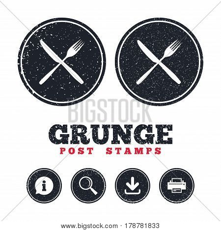 Grunge post stamps. Eat sign icon. Cutlery symbol. Fork and knife crosswise. Information, download and printer signs. Aged texture web buttons. Vector