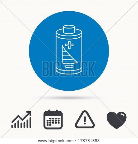 Battery icon. Electrical power sign. Rechargeable energy symbol. Calendar, attention sign and growth chart. Button with web icon. Vector