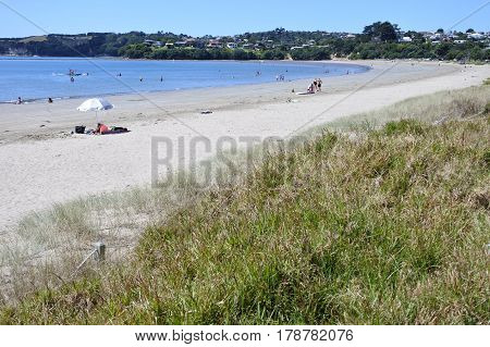 MANLY, NEW ZEALAND - 26 FEB 2017: Landscape of Big Manly Beach Whangaparaoa Peninsula Auckland New Zealand