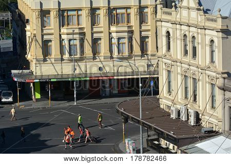 AUCKLAND - MAR 16 2017:Aerial view of K Road. Karangahape Road is one of the main streets in the central business district of Auckland New Zealand.