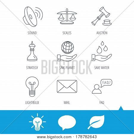 Strategy, auction and scales of justice icons. Save planet, water and lamp lightbulb linear signs. Faq and law hammer flat line icons. Light bulb, speech bubble and leaf web icons. Vector