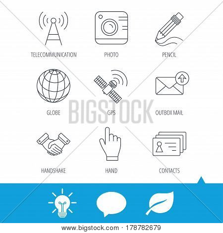 Handshake, contacts and gps satellite icons. Pencil, photo camera and mail linear signs. Telecommunication station flat line icons. Light bulb, speech bubble and leaf web icons. Vector
