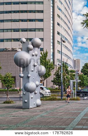 Abstract Street Sculpture With Balls In Tokyo, Japan