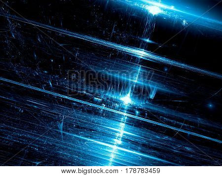 Blurred glossy technology background - abstract computer-generated image. Modern fractal art: Inclined surface with chaos strokes, stripes and light effects for texture mapping, backdrops, web design.