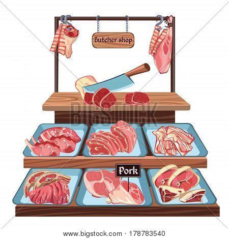 Sketch butcher shop concept with knife on wooden board and cutting pork meat parts on counter vector illustration