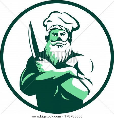Illustration of a chef cook with beard wearing chef's hat arms crossed holding knife facing front set inside circle on isolated background done in retro style.