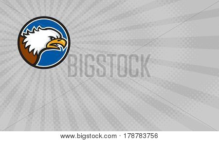 Business card showing Illustration of an american bald eagle head screaming viewed from the side set inside circle done in retro style.