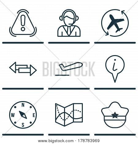 Set Of 9 Travel Icons. Includes Siren, Info Pointer, Airliner Takeoff And Other Symbols. Beautiful Design Elements.