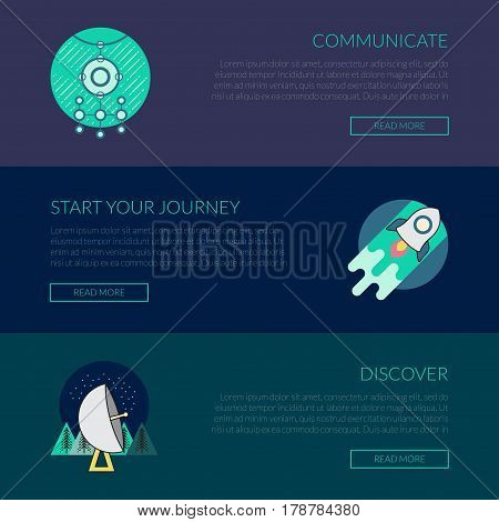 Vector ufo, science and space concept banners template