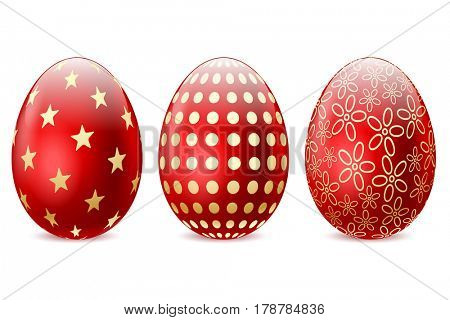 three Red Easter Egg on white background. Illustration