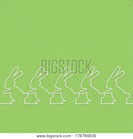 group Easter Rabbit on green background. Illustration