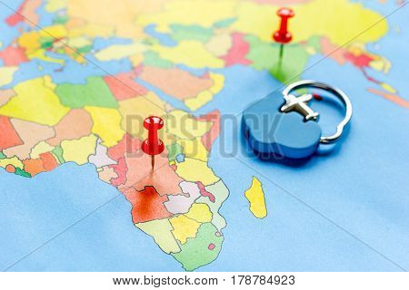 preparetion and booking travel concept with fob on map of the world background