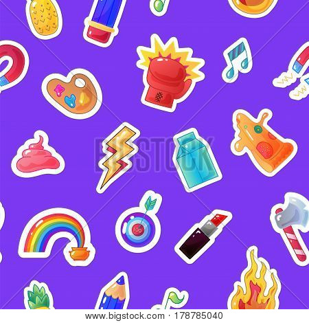 Fashion sticker seamless pattern. Vector patch background