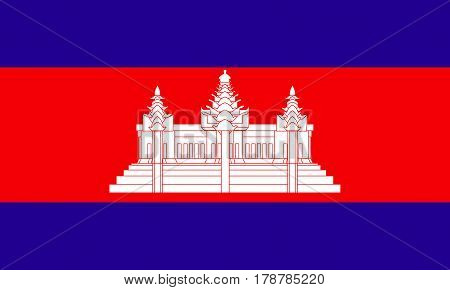 flat cambodian flag in the colors blue, white and red