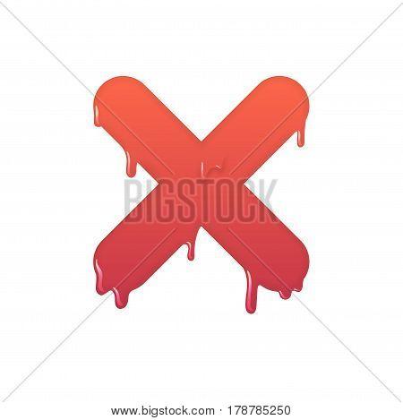 Melting deny icon. Negative answer symbol illustration