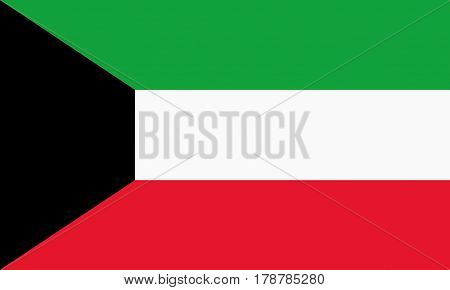 flat kuwait flag in the colors black, green, white and red