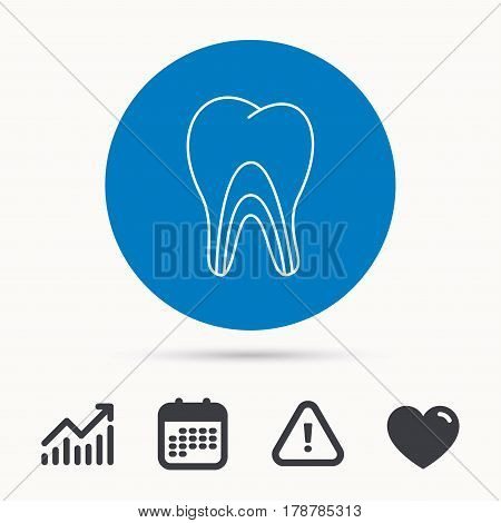 Dentinal tubules icon. Tooth medicine sign. Calendar, attention sign and growth chart. Button with web icon. Vector