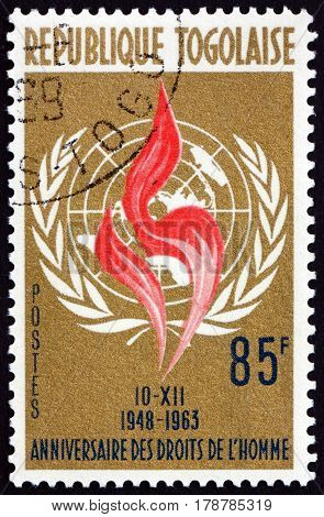 TOGO - CIRCA 1963: a stamp printed in Togo dedicated to the Universal Declaration of Human Rights 15th Anniversary circa 1963