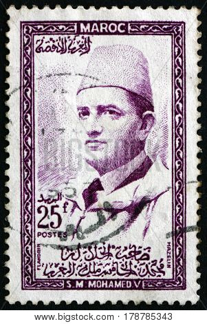 MOROCCO - CIRCA 1957: a stamp printed in Morocco shows Mohammed V Sultan of Morocco circa 1957