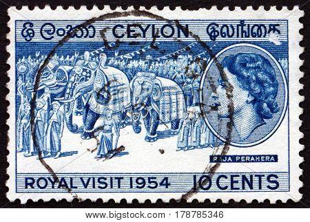 SRI LANKA - CIRCA 1954: a stamp printed in Sri Lanka shows Royal Procession Visit of Queen Elizabeth II and the Duke of Edinburgh circa 1954