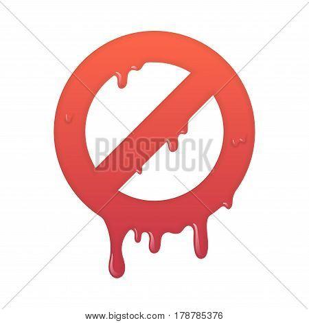Melting stop icon. Not allowed info symbol illustration