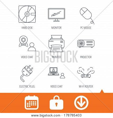 Monitor, printer and wi-fi router icons. Video chat, electric plug and pc mouse linear signs. Projector, hard disk icons. Download arrow, locker and calendar web icons. Vector