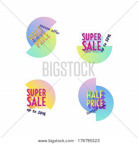 Set of modern neon sale stickers. Vector badge for online shopping, product promotions, web and mobile site ads, print material, sticker and tags