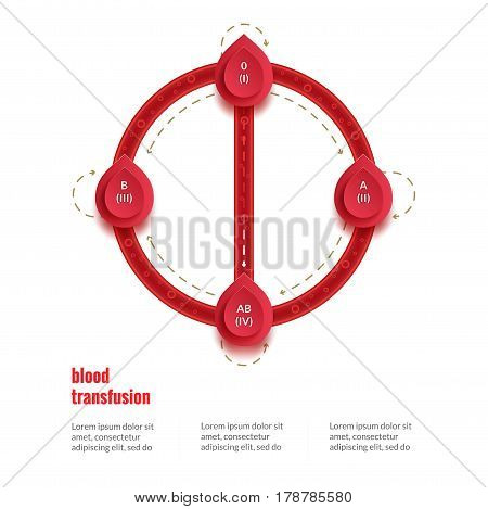 group and type infographic transfusion scheme for world blood donor day, 14 June. Medical poster