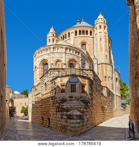 Abbey of the Dormition under blue sky in Old City of Jerusalem, Israel.