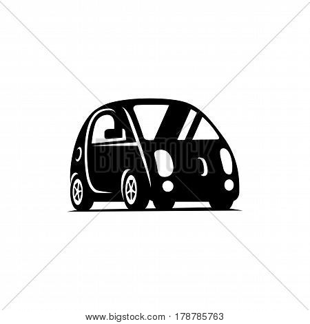Delf-driving driverless vehicle. Car side view flat icon. Smart car logo