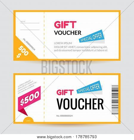 Simple and clean modern gift voucher template. Discount certificate or coupon design concept