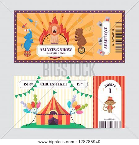 Circus ticket design template. Amazing show with trained animals entrance pass. Birthday invitation card