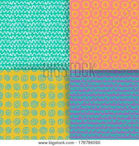 Set of 4 seamless pattern. Hand drawn textures