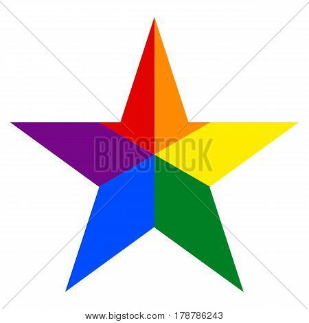 Rainbow Pride Flag Lgbt Movement In Star Shape