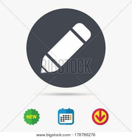 Edit icon. Pencil for drawing symbol. Calendar, download arrow and new tag signs. Colored flat web icons. Vector