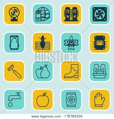 Set Of 16 Plant Icons. Includes Growing Plant, Wheat, Nectarine And Other Symbols. Beautiful Design Elements.