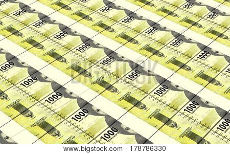 Indonesian rupiah bills stacks background. 3D illustration