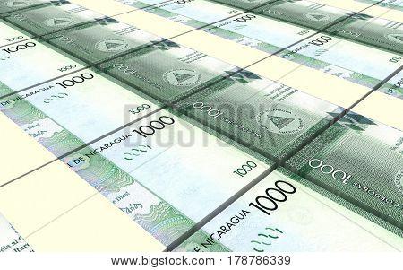 Nicaraguan cordoba bills stacks background. 3D illustration