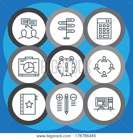Set Of 9 Project Management Icons. Includes Collaboration, Decision Making, Time Management And Other Symbols. Beautiful Design Elements.