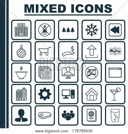 Set Of 25 Universal Editable Icons. Can Be Used For Web, Mobile And App Design. Includes Elements Such As Holiday Ornament, Program, Cocktail And More.