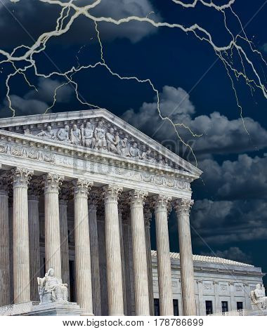 United States Supreme Court building in a storm.
