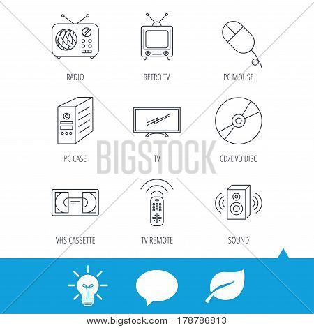 Retro TV, radio and DVD disc icons. PC mouse, VHS cassette and sound speaker linear signs. Light bulb, speech bubble and leaf web icons. Vector