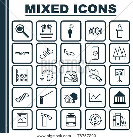 Set Of 25 Universal Editable Icons. Can Be Used For Web, Mobile And App Design. Includes Elements Such As Streetcar, Education Center, Fire Extinguisher And More.