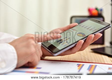 Businesswoman Touching Phone