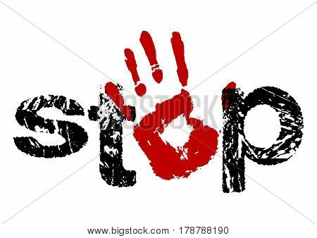 Sign stop as stamp with open hand icon in red and black colors in grunge style. Open palm signal isolated on white. Vector illustration